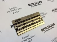 New reproduction chassis identification plate
